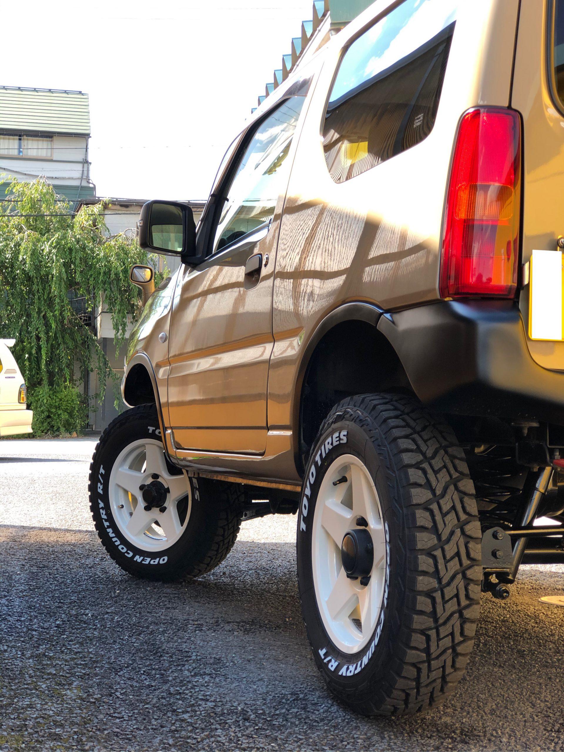 JB23ジムニー納車! ベージュ塗装 リフトアップ タイヤホイール交換